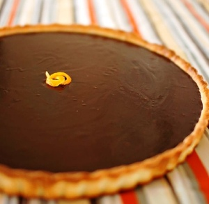 An orange chocolate tart.  Lovely!