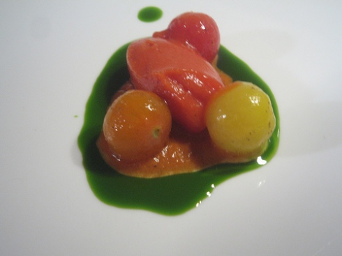 Serve it as a salad component or as a garnish for a protein.  Either way, tomato sorbet is surprising and refreshing.