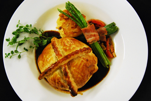 Individual Beef Wellingtons--specialty of the house.