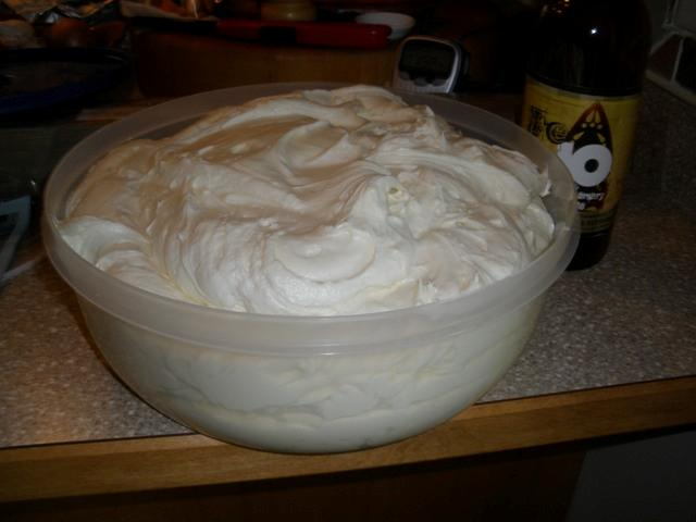 Meet Two Gallons of cream cheese frosting.  And that's not even all of it.