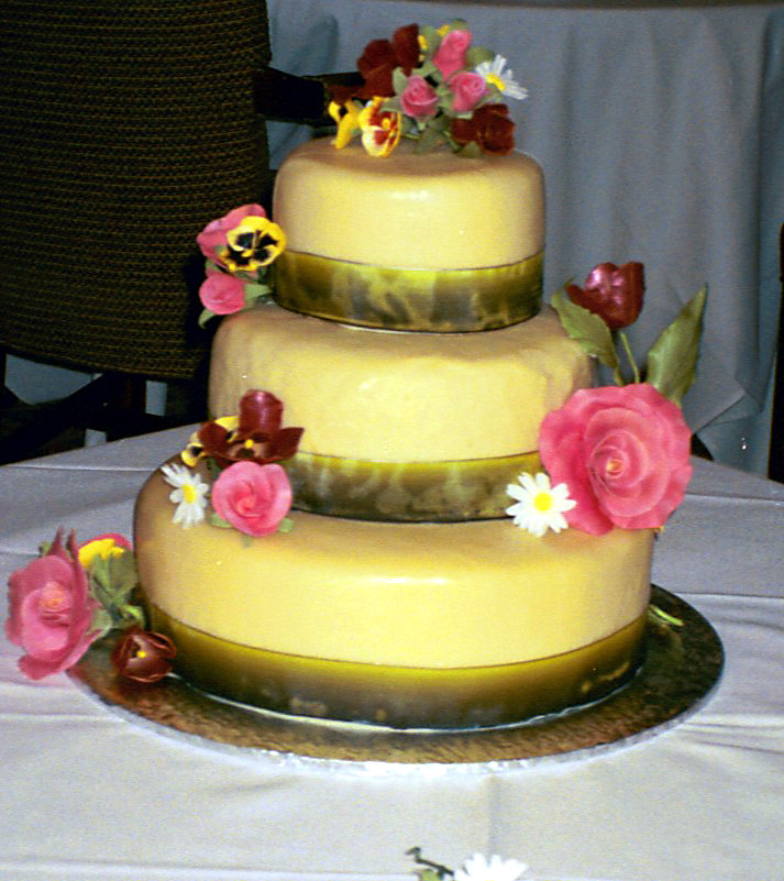 Ev and Ray's anniversary cake--lemon cake with raspberry filling covered with marzipan and then white chocolate ganache.  Gumpaste roses, daisies, tulips and pansies.