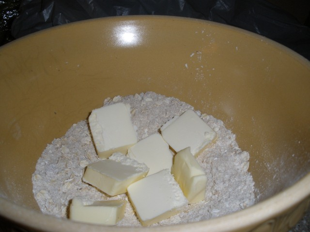Scatter the butter on top and then blend it in.  Very, very thoroughly.