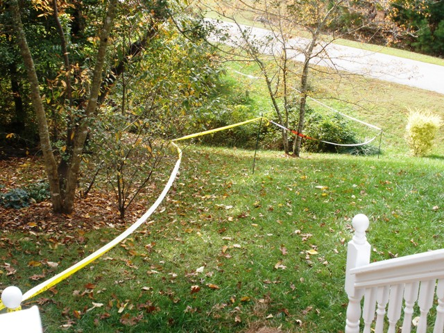 haunted path made with caution tape