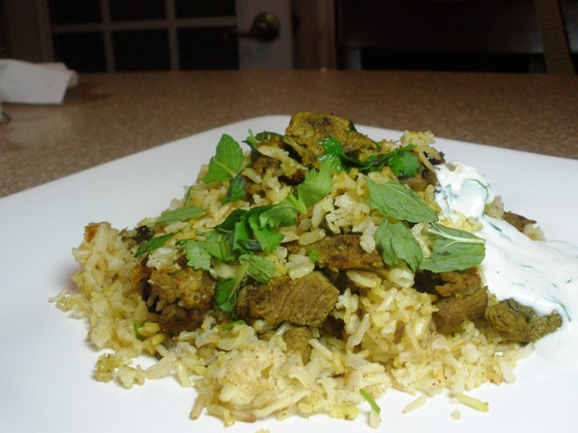 lamb biryani made with brown rice