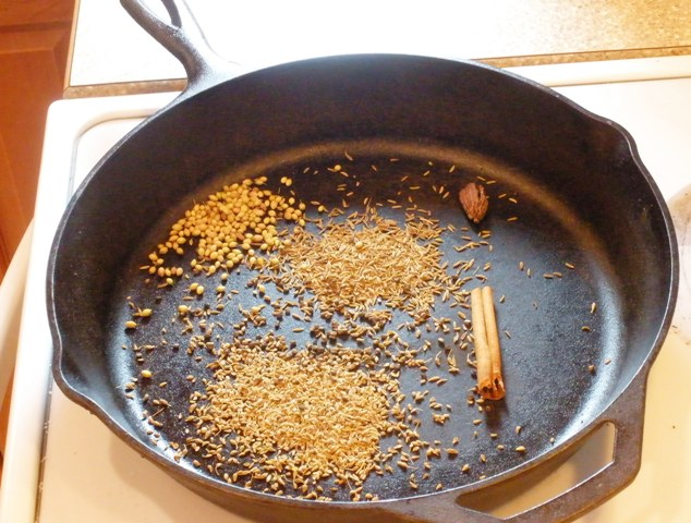 toasting coriander. black cardamom, fennel, cumin and cinnamon stick