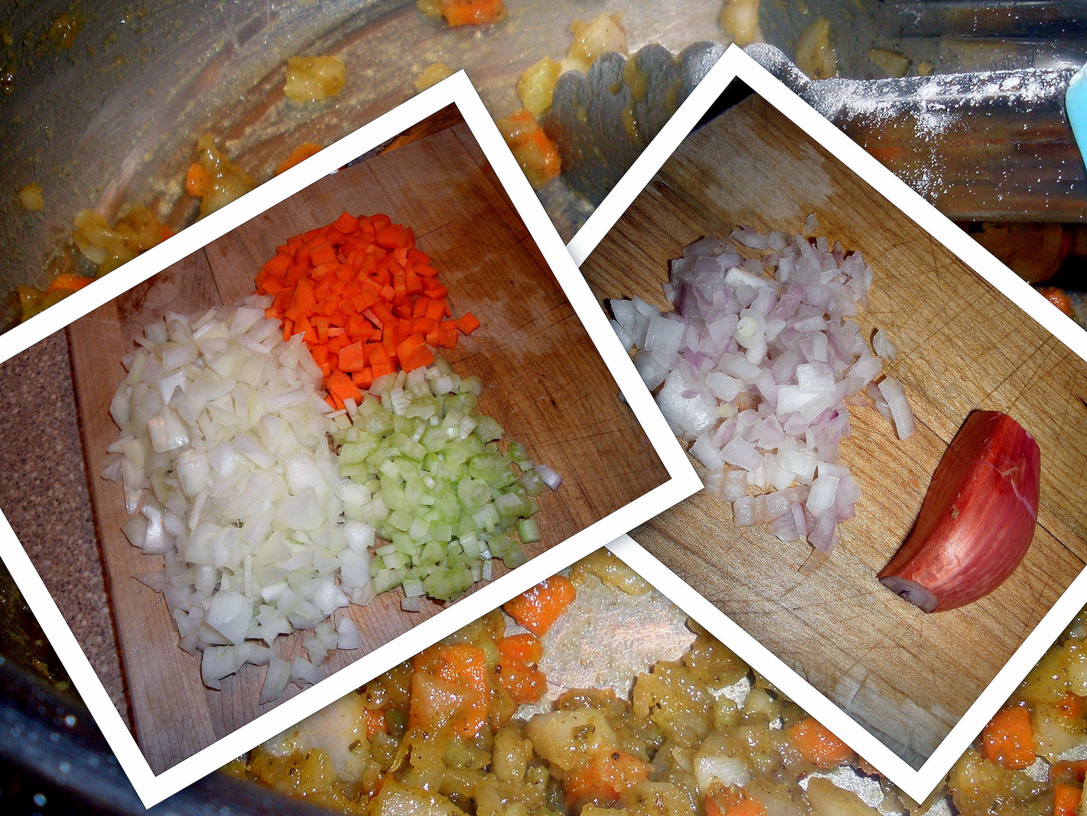 dice onions, carrots, celery and shallot